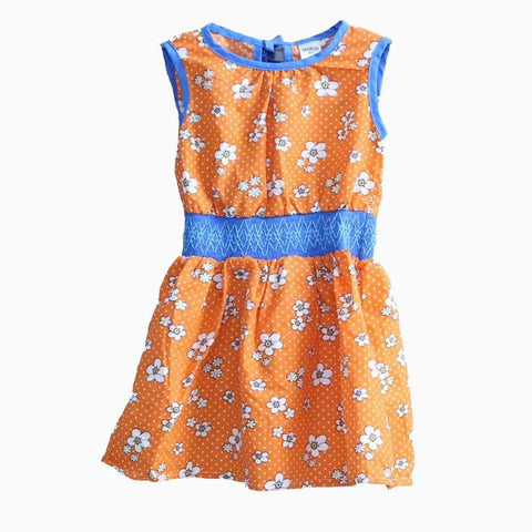 Carters white flower blue waistband orange Dress