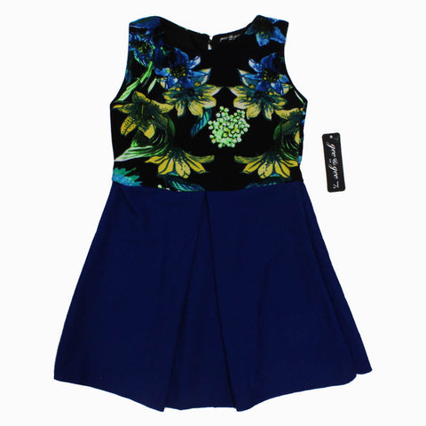 Gee Gee Printed Flower Top Royal blue Premium Poly Cotton Dress