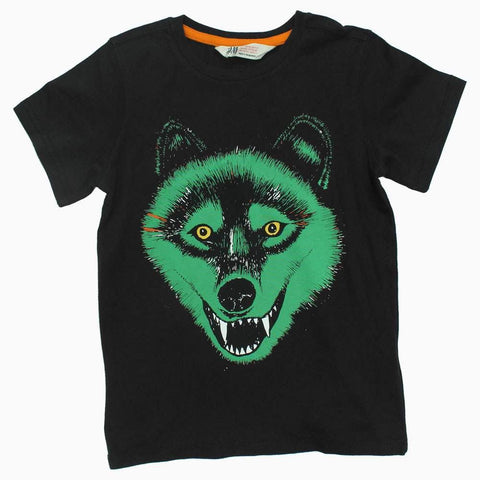 HnM Premium Cotton Wolf Dark Grey Boys Tshirt