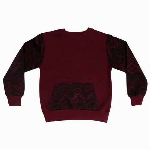Maroon boys Sweat shirt with abstract printed sleeves