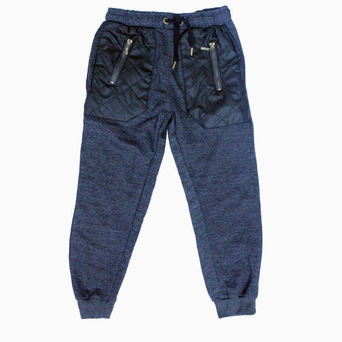 Grey big pocket leather patch boys winter trouser