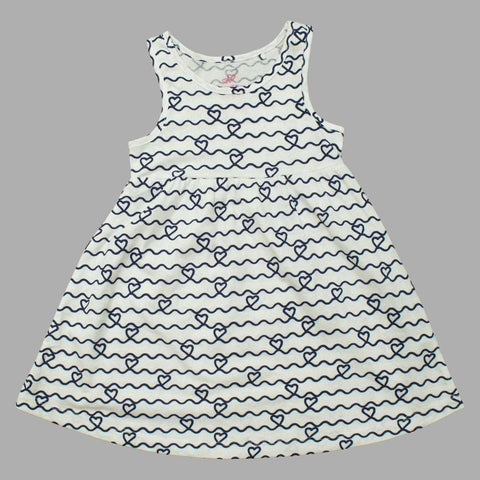 Lupilu Curvy Lines Hearts White Sleevless Premium Cotton Dress
