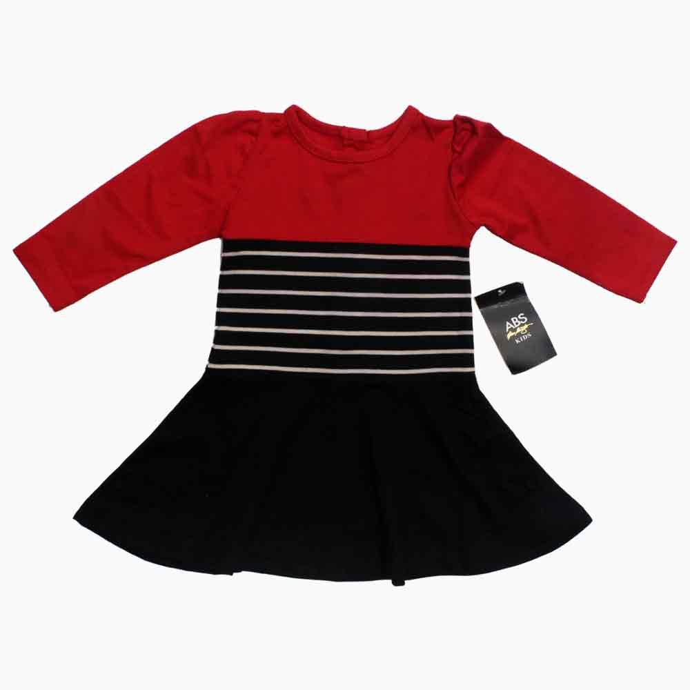 ABS Girls Full Sleeves Red and Black Dress