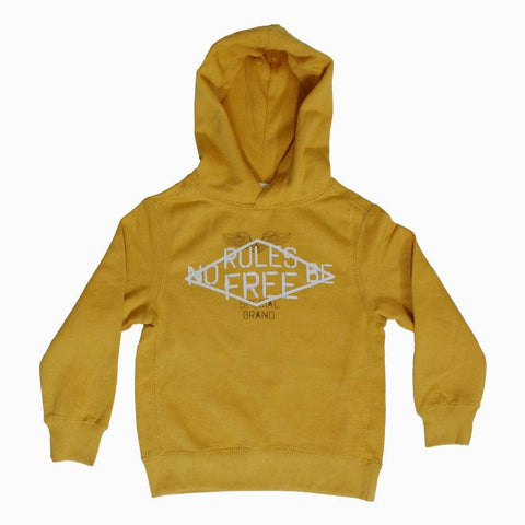 Lefties No Rules print Yellow Kangaroo Hoodie