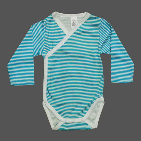BABY CLUB Turquoise Stripes Wrap Style Cotton Romper