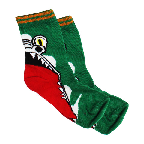 Alligator Open Mouth Printed Green Cotton Socks