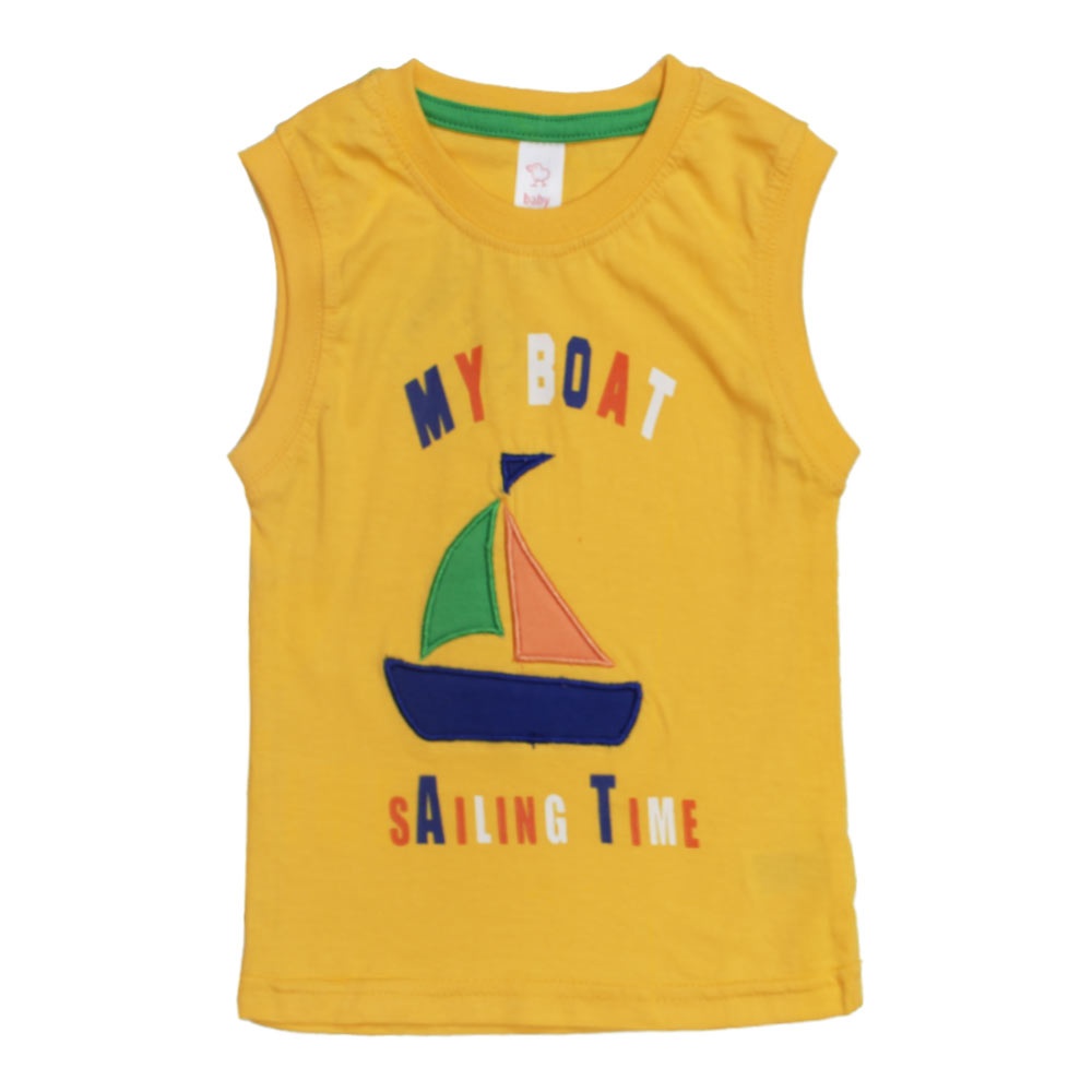 BABY CLUB Ship Embroidery Yellow Boys Premium Cotton Tank Top