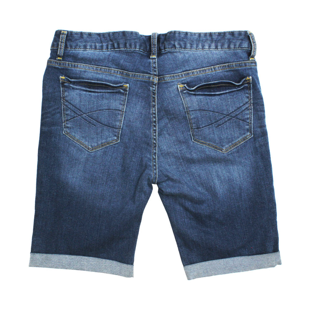 AEROPOSTALE Heavy Ripped Bottom Folded Blue Boys Denim Short