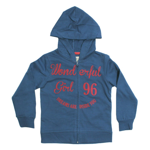 Zy Wonderful Blue Girls Cotton Hoodie