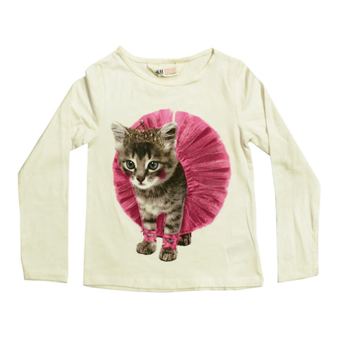 HnM Cute Cat Print Off White premium Cotton Tshirt