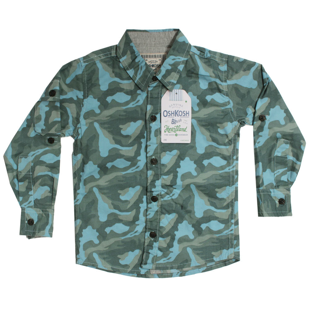 OSHKOSH Camouflage Light Blue And Green Premium Cotton Casual Winter Shirt