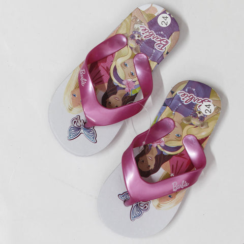 BARBIE Butterfly Print White And Pink Rubber Flip Flops