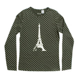RESERVED Polka Dots Eiffel Tower Grey Premium Cotton Tshirt