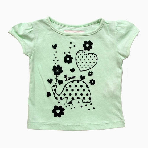 Light Green Love Girls Butterfly sleeves Tshirt