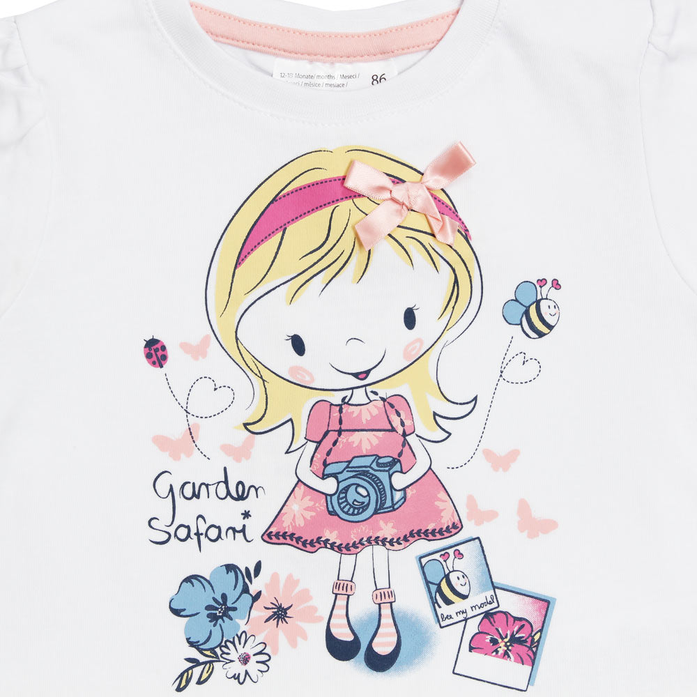 ERGEE Girls Print Pink Bow White Girls Premium Cotton Tshirt