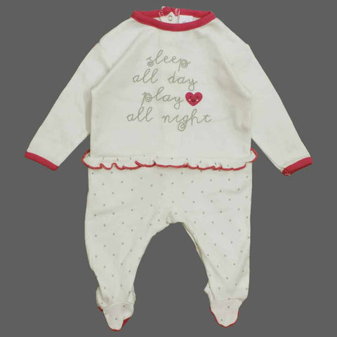 BABY Club Sleep day Girls Premium Cotton Off White  Sleep Suit