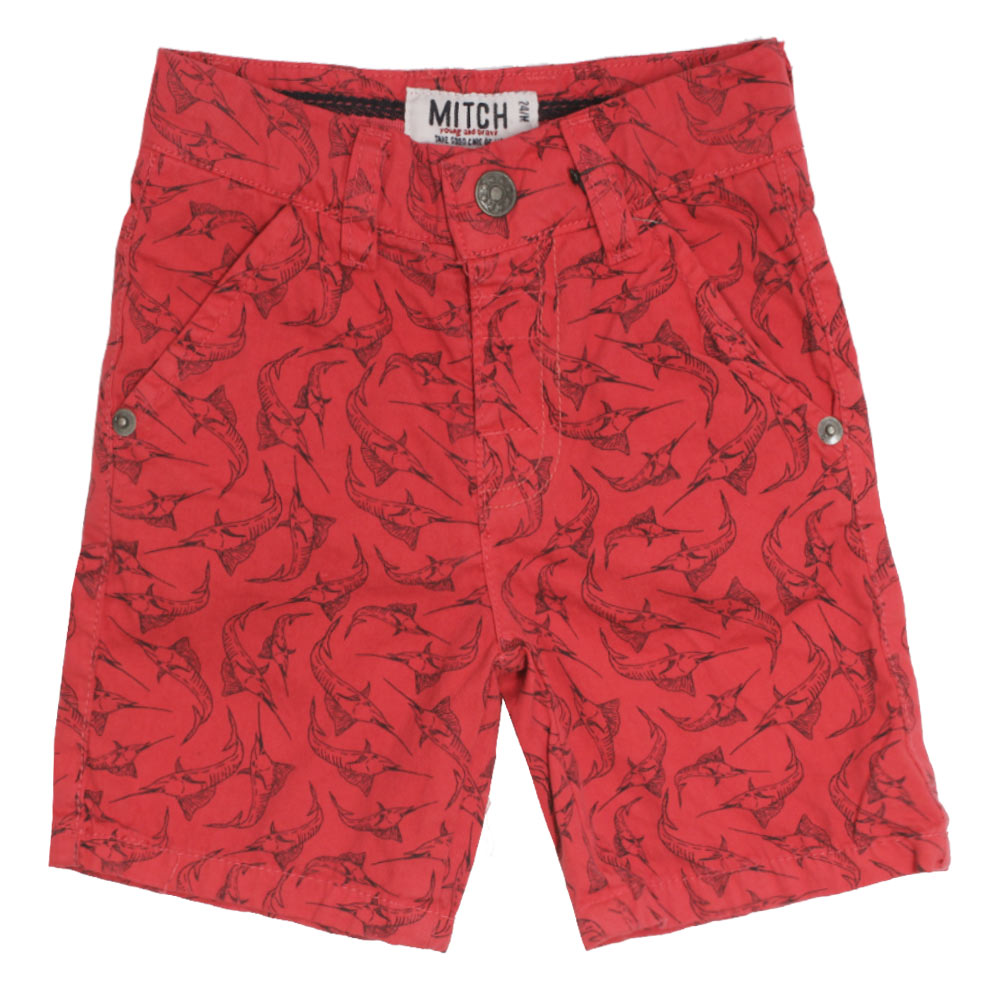 MITCH Well Fish Print Red Boys Cotton Short