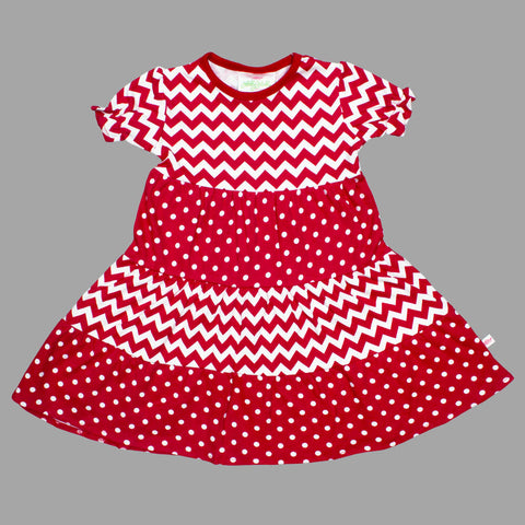 Lolly Wolly Red Multi all over Pattern Girls Cotton Dress