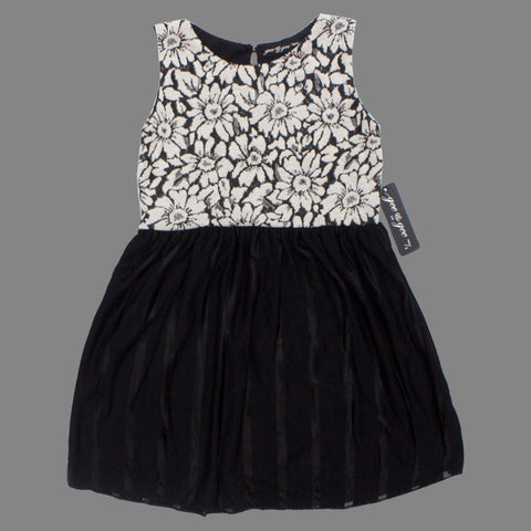 Gee Gee Girls Knitted Flocked Flowers Off White and Black Dress