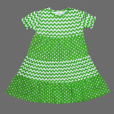 Lolly Wolly Light Gree Multi all over Pattern Girls Cotton Dress