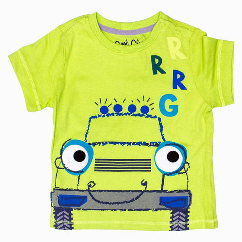 Cool Club  Happy Car Boys Light Green Tshirt