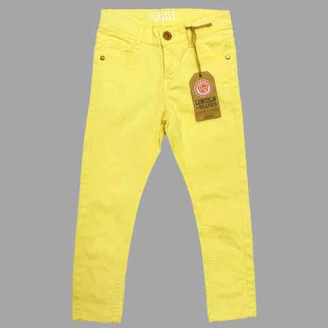 Lincoln Sharks Bright Yellow Girls Cotton Pant