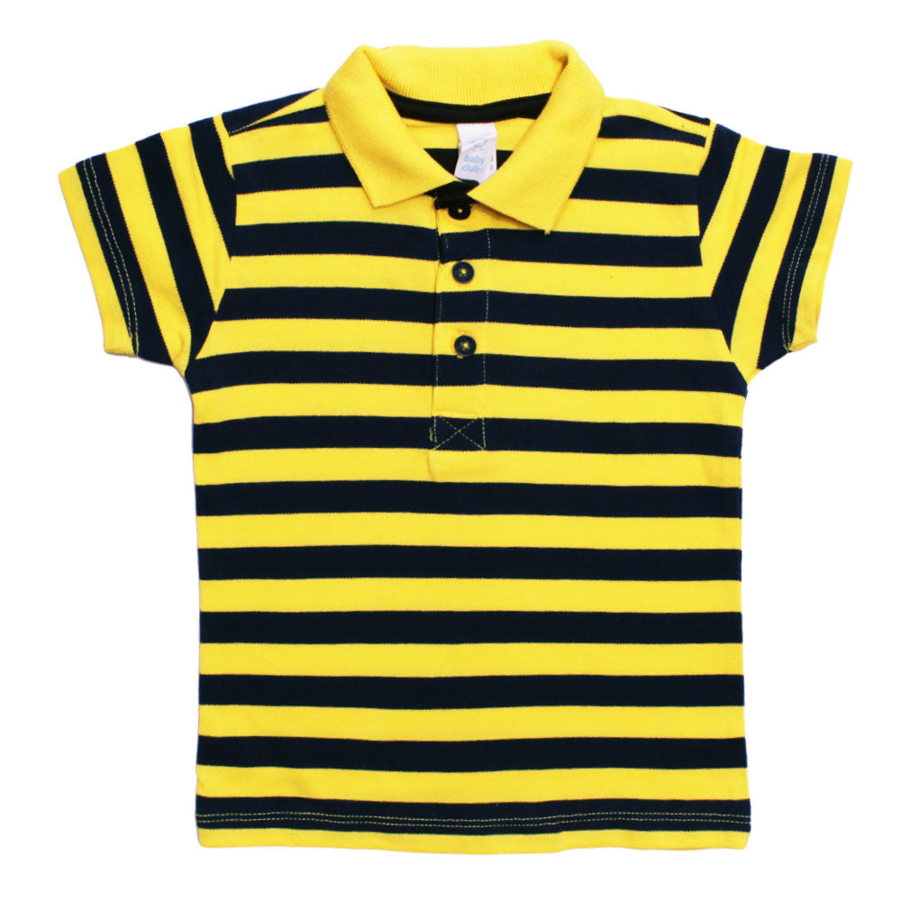 BABY CLUB Yarn Dyed Yellow and Navy Blue Premium Cotton Pique Polo