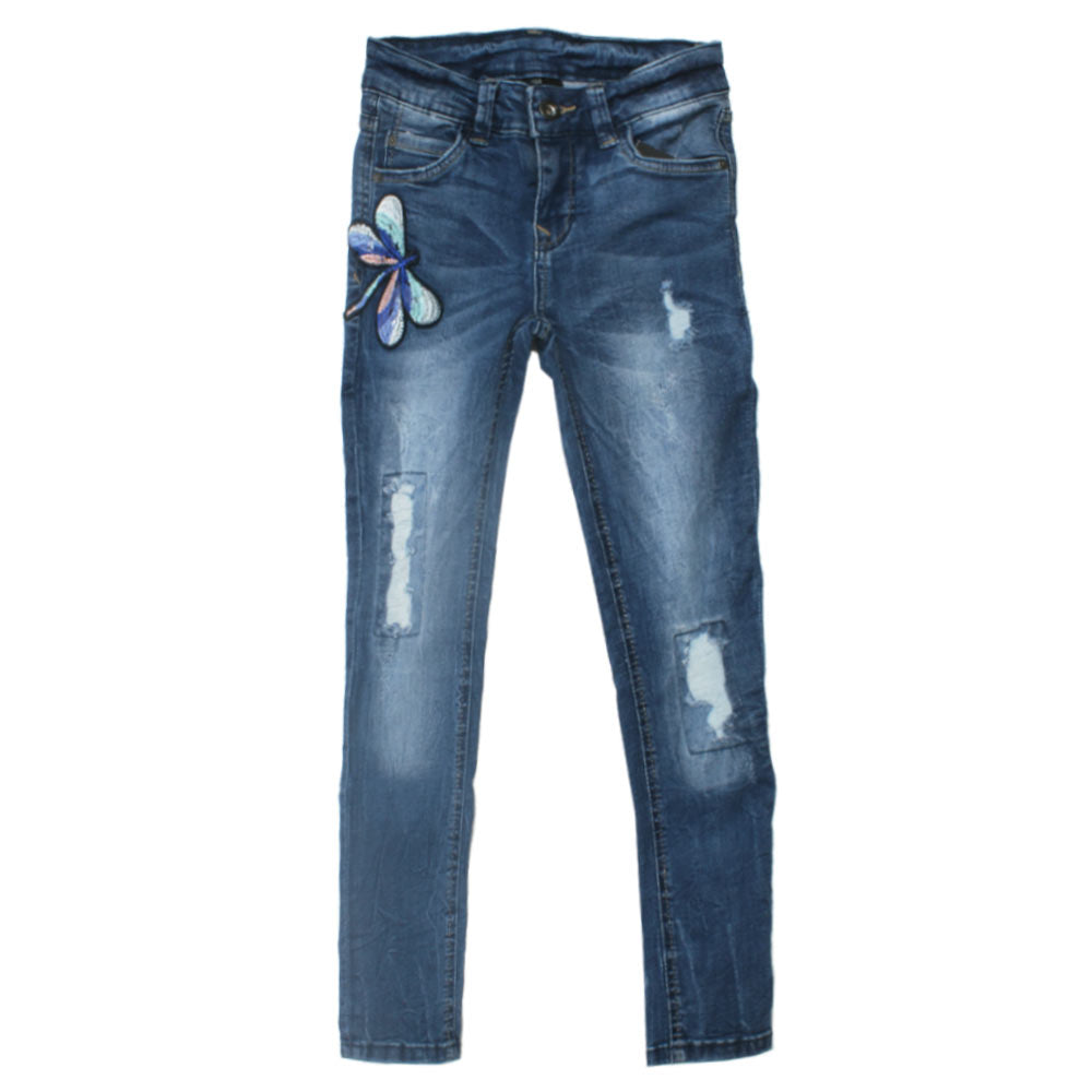PAGE ONE YOUNG Butterfly Embroidery Heavy Ripped Blue Girls Denim Jeans