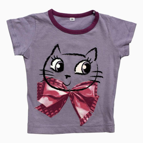Light Purple Cat with bow printed Girls Tshirt
