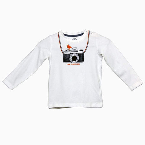 JBC Camera print unisex white full sleeves Tshirt