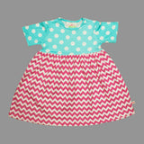 Lolly Wolly Pink ZigZag Blue Polka Dots Girls Cotton Dress