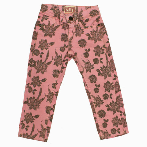 Akido Girls Printed Cotton Pink Jeans