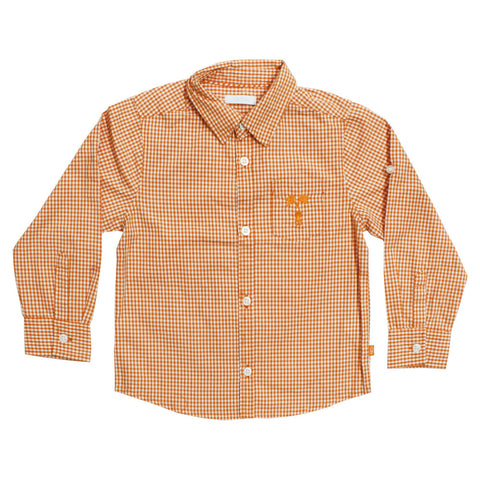 OBAIBI Orange Checks Premium Cotton Dress Shirt
