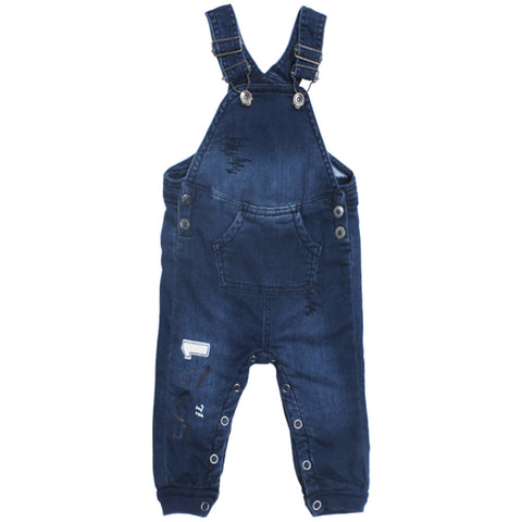 I DO Front Packet No 1 Print Blue Boys Stretchable  Denim Dungaree