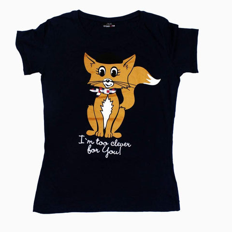 Clever Fox Premium Cotton Loose fit Girls Navy Tshirt