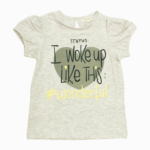 Fagottino Girls Heather Grey Woke Up Adorable Premium Cotton Tshirt