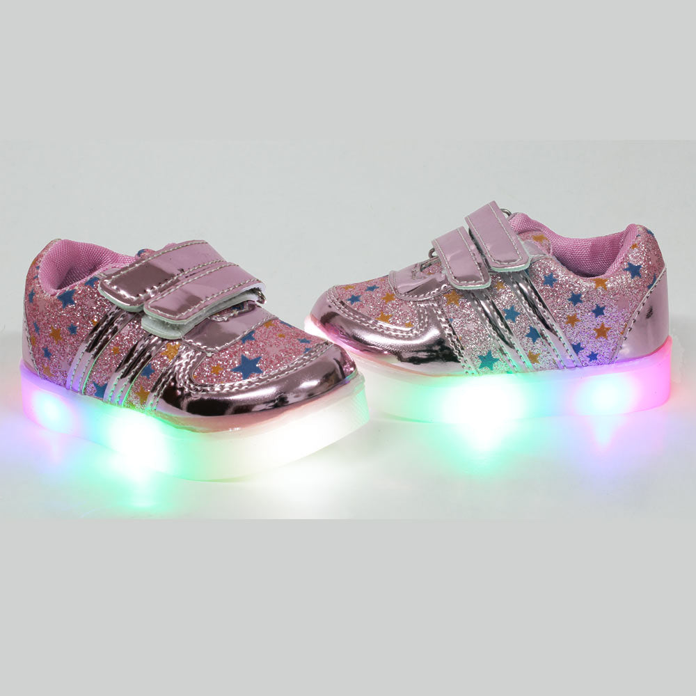 All over Glitter Stars Pink Bottom Lights Girls Shoes