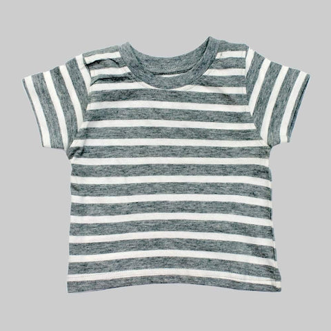 Grey and White Slub Cotton Boys Stripes tshirt