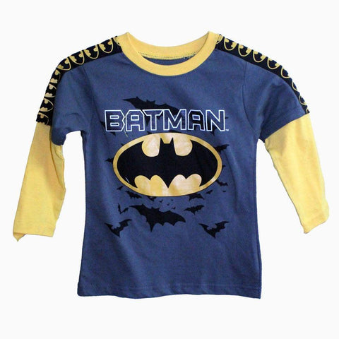 Batman dark grey yellow sleeves boys tshirt