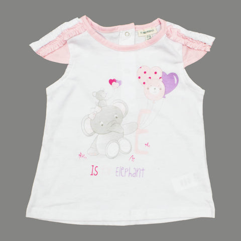 Fagottino Girls E is for Elephant Girls White Premium Cotton Fancy Tshirt