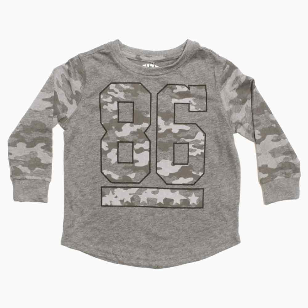 86 Camouflage Print Sleeves Boys Grey Premium Cotton Tshirt