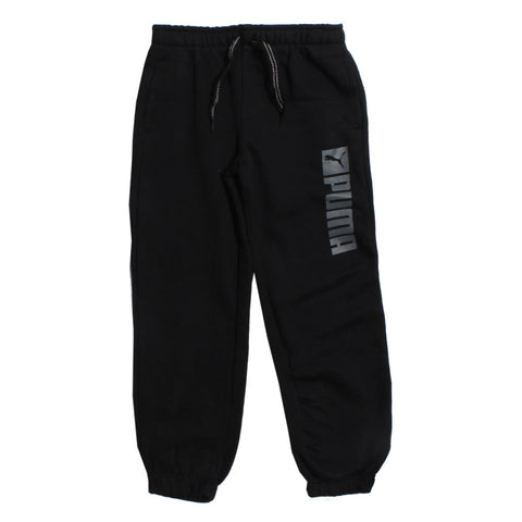 PUMA Side Vertical Print Heavy Fleece Black Trouser