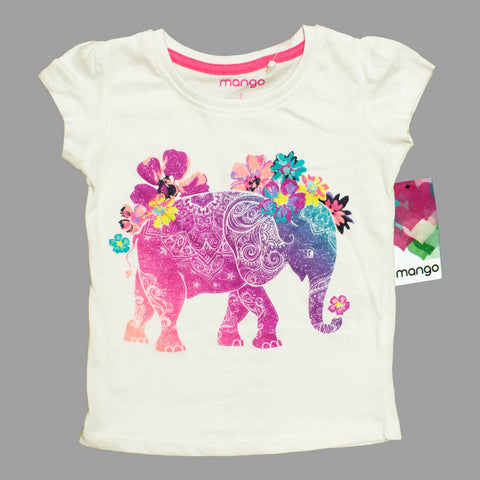 Mango Glitter Print Elephant Girls White Premium Cotton Tshirt