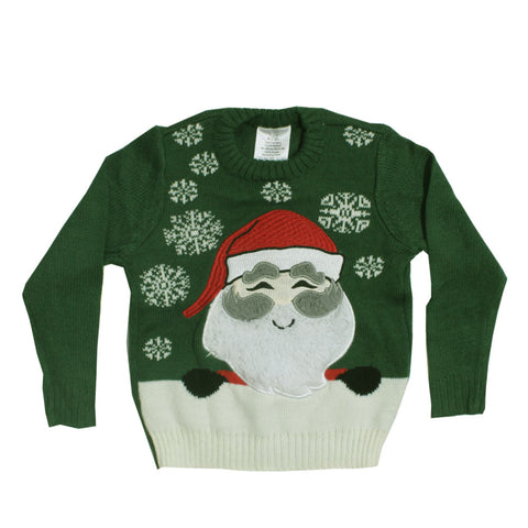 LILY and DAN Santa Fluffed Green Premium Acrylic Sweater