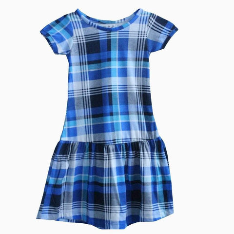 Next blue white and black checks pattern girls dress