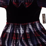 Gee Gee Girls Black and Blueish Grey Checks Valvet Polyester Dress