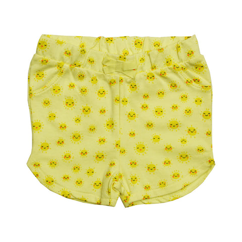 BABY CLUb All Over Sun Emojis Premium Cotton Girls Yellow Shorts