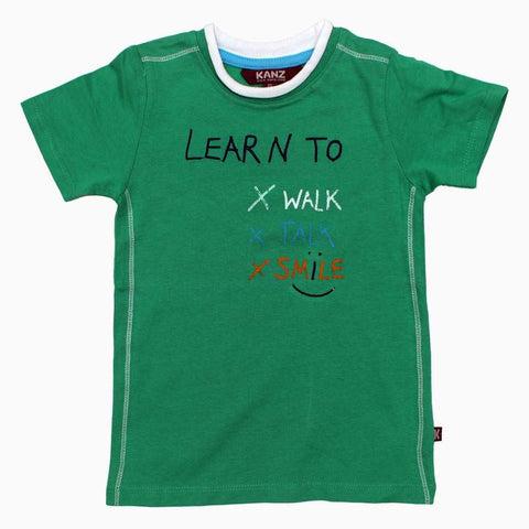 Learn To Smile Boys Green Tshirt
