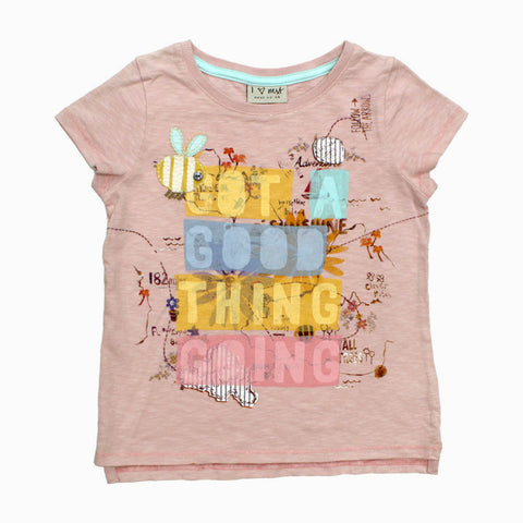 NEXT Applique Bee Good Thing Premium Cotton Pink Tshirt