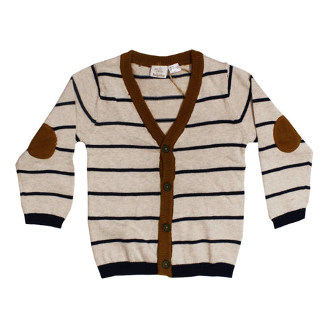 LUPILU Blue Stripes Brown Girls Cotton Sweater